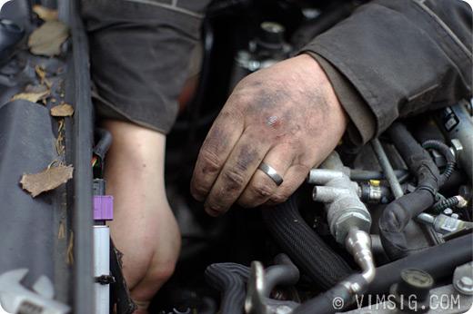 en arbetares händer