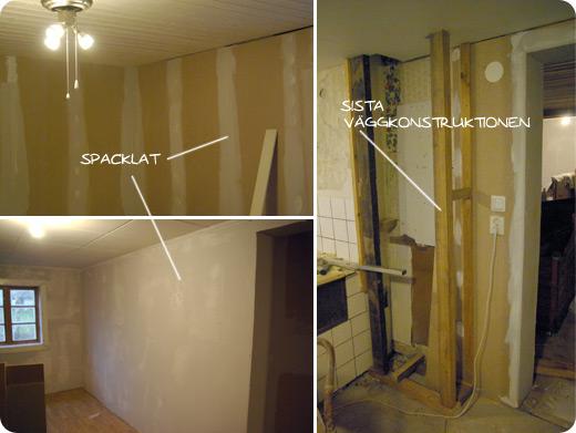 spackling och väggkonstruktion