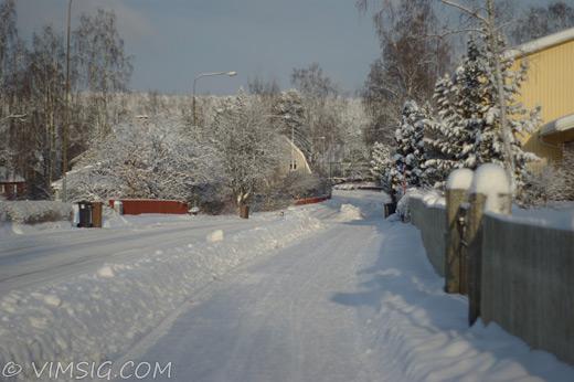 vackert snöigt