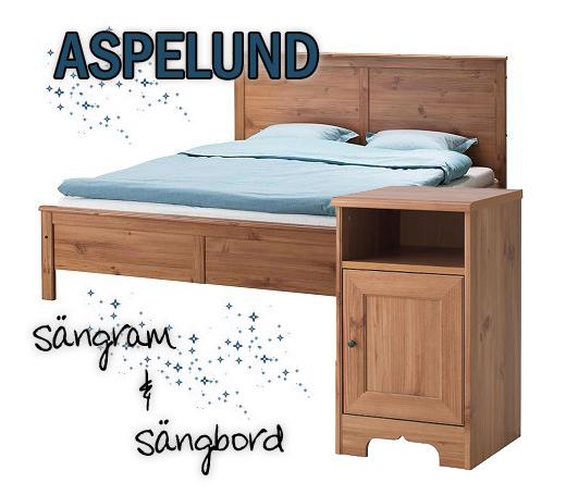 aspelund sängram och sängbord
